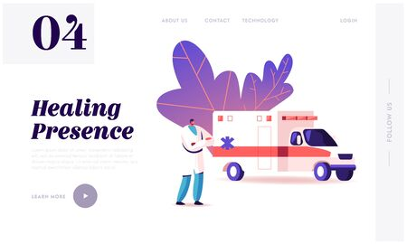 Ambulance Medical Staff Service Landing Page Template. Medic Character Stand at Car in Hospital. Emergency Paramedic Doctor Diseased Patients Transportation, Health Care. Cartoon Vector Illustration