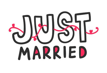 Just Married Outline Hand Written Lettering with Black Font, Red Hearts Wavy Ornament Isolated on White Background. Design Element for Wedding Greeting Card or Romantic Invitation. Vector Illustration