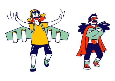 Superhero Kids Characters Rejoice and Having Fun. Little Boy Wearing Pilot Costume with Wings and Girl in Red Cape Performing on Stage. Motivation, Success, Genius People. Linear Vector Illustration