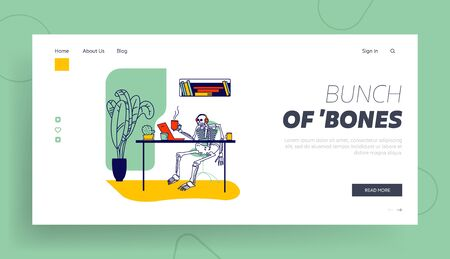 Workaholic at Job, Deadline or Work Overload, Commitment Landing Page Template. Skeleton Character in Headset Sitting at Office Desk with Coffee Cup Look in Laptop Screen. Linear Vector Illustration