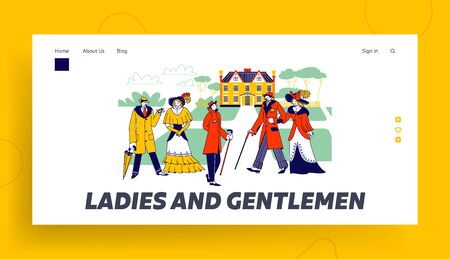 Victorian Male Female Characters in Beautiful Dresses Landing Page Template. Vintage Gentlemen and Ladies Walk on Antique Palace Landscape with Fields, Retro Fashion. Linear People Vector Illustration