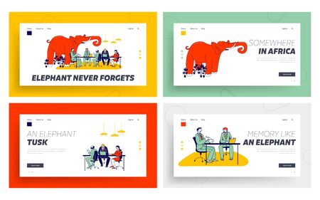 Red Elephant in Office Landing Page Template Set. Business People Sitting in Office Discussing, Ignoring Unsolved and Avoided Problems. Partners Conversation or Negotiation. Linear Vector Illustration