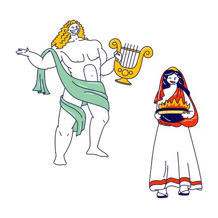 Ancient Greek Gods Characters Appolon or Phoebus Patron of Light and Arts and Hesita or Vesta Patroness of Hearth and Sacrificial Fire, Deities Characters in Olympus. Linear People Vector Illustration