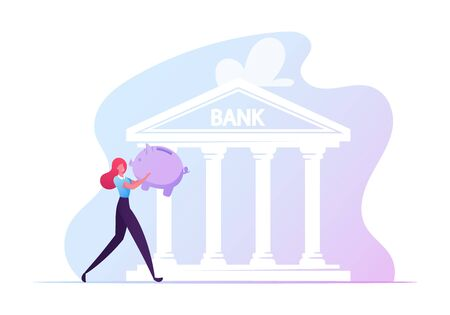 Student Loan, Debt for Education Concept. Girl Student Character Carry Piggy Bank Walking to Take Educational Loan for Studying in University. Investment in Knowledge. Cartoon Vector Illustration Çizim