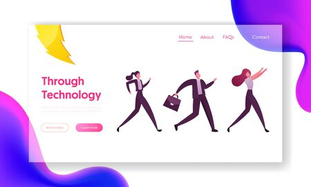Business Acceleration, Career Boost, Race Landing Page Template. Business People Characters Running by Row Competing for Leadership in Office. Colleagues Chase Leader. Cartoon Vector Illustration