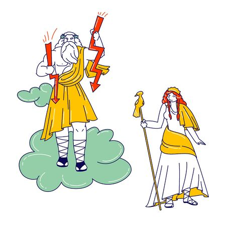 Greek Gods Zeus, Jupiter or Jove and his Wife Hera or Juno on Olympus Mountain. Fantasy Characters of Greece Deities Pantheon from Classical Greek or Roman Mythology. Linear People Vector Illustration