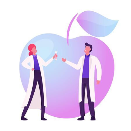 Agricultural Genetics Concept. Scientists Characters Looking in Test Tube with Herbicide at Huge Genetically Modified Apple. Biology Genome Engineering Technologies. Cartoon People Vector Illustration