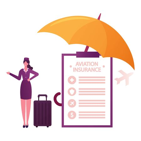 Aviation Insurance Concept. Stewardess Character with Baggage at Huge Paper Policy Document under Umbrella and Flying Airplane. Air Travel Financial Guarantee Contract. Cartoon Vector Illustration