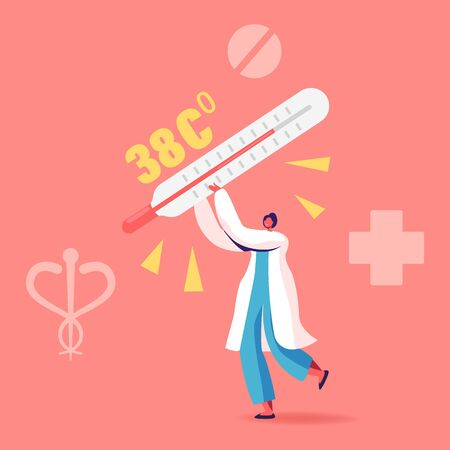 Female Doctor Character Carry Huge Thermometer with High Temperature Scale. Flu, Appendicitis Disease