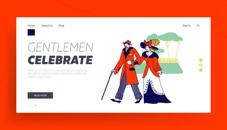 Vintage Fashion Landing Page Template. Whiskered Man and Elegant Lady Characters of Nineteenth Century Walking on Nature. English Gentleman Wear Old Fashioned Suit. Linear People Vector Illustration