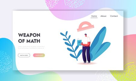Higher Education, Male Character Gain Knowledge Landing Page Template. Student Reading Mathematics Textbook Learning Homework or Prepare to Exam in University or College. Cartoon Vector Illustration