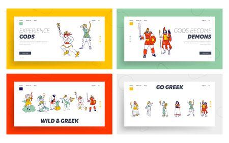 Powerful Ancient Greek Gods and Goddess Landing Page Template Set. Zeus Poseidon Hephaestus, Vulcan Apollon Hermes Ares Hera Athena Minerva Demeter Aphrodite Hestia Deities. Linear Vector Illustration