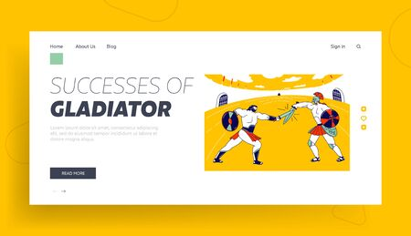 Greek Soldier with Shield Battle Show Landing Page Template. Gladiator Character Fighting with Barbarian on Coliseum Arena. Roman Warrior and Moor Fight on Swords. Linear People Vector Illustration