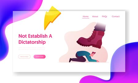 Humiliation of Human Dignity and Rights Violation Landing Page Template. Huge Boot Trample Frightened Humiliated Man on Knees. Large Leg Pressing Man Fell on All Fours. Cartoon Vector Illustration