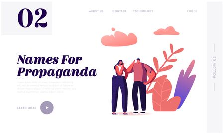 Fake News Landing Page Template. Characters Telling Gossips and Scandal Tales to Each Other on Street