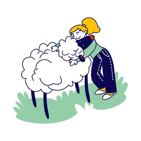 Happy Girl Character Hugging Cute Sheep in Farm Zoo. Care of Animals, Excursion to Ranch or Village Farmyard, Summer Spare Time, Family Leisure. Communication with Animals. Linear Vector Illustration Illusztráció