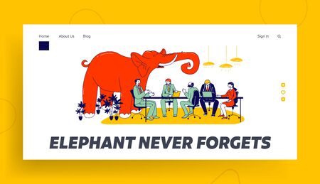 Unsolved and Avoided Problems Landing Page Template. Huge Red Elephant Trumpet in Modern Office with Business People Characters Sitting at Board Meeting Having Conversation. Linear Vector Illustration
