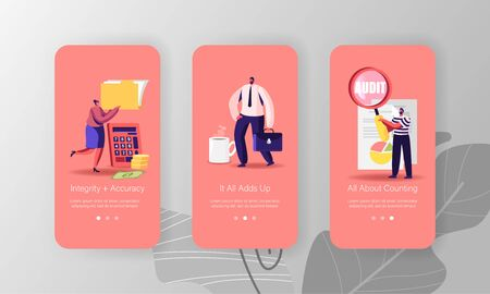 Consulting Auditors Service, Auditing Financial Report Mobile App Page Onboard Screen Template. Tiny People Characters
