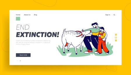 Father and Son in Farm Outdoor Zoo Landing Page Template. Daddy with Little Boy Caress Goat, Spending Time with Domestic Animals. Happy Family Characters in Farmyard Park. Linear Vector Illustration 向量圖像