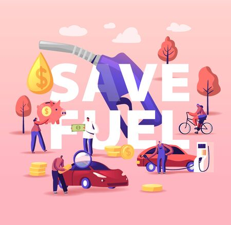 Petrol Economy Concept. Characters Refueling Car on Station, Pumping Gasoline Oil. Filling Gas or Biodiesel, Automotive Industry. People Save Fuel Poster Banner Flyer. Cartoon Vector Illustration