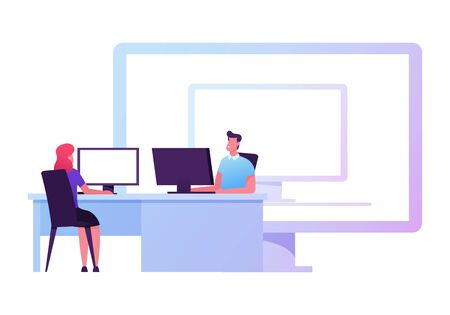 Male and Female Business People Characters Sitting at Office Desk Working on Pc front of Huge Desktop with Computer