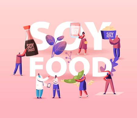 Soy Products Concept. Organic Natural Food of Soya Beans. Sauce, Meat and Milk from Legume Pods, Tiny Characters Eat Healthy Snacks and Meal Poster Banner Flyer. Cartoon People Vector Illustration 向量圖像