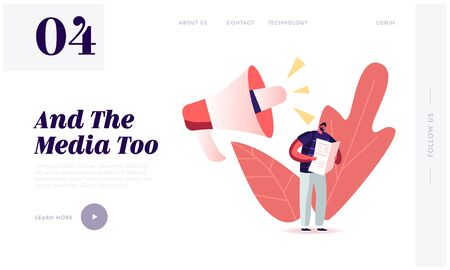 Fake News, Information and Disinformation Landing Page Template. Male Character Read Newspaper near Huge Megaphone Speaking. Mass Media Manipulation, Gossip Info. Cartoon People Vector Illustration