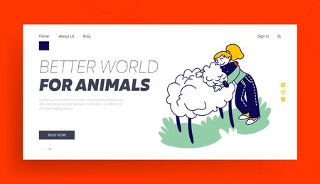 Care of Animals Landing Page Template. Happy Girl Character Hugging Cute Sheep in Farm Zoo. Excursion to Ranch or Village Farmyard. Family Leisure Communication with Animal. Linear Vector Illustration