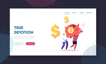 Medicine Price Landing Page Template. Man and Woman Carry Huge Piggy Bank with Dollar Sign and Medical Corss. People Saving Money, Health Care. Family Finance Budget. Cartoon Vector Illustration
