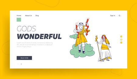 Greek or Roman Mythology Landing Page Template. Greek Gods Zeus, Jupiter or Jove and his Wife Hera or Juno on Olympus Mountain. Fantasy Characters Greece Deities. Linear People Vector Illustration