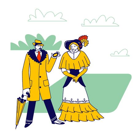 Elegant Man Dandy and Woman of Victorian Era. Gentleman in Frock Coat and Hat Look in Pocket Clock Hold Umbrella in Hand Lady in Long Dress. Old Fashioned Characters. Linear People Vector Illustration