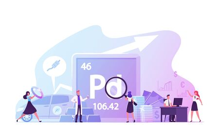 People Use and Study Palladium, Periodic Table Chemical Element with Symbol Pd and Atomic Number 46. Transition Metal, Named After Asteroid Pallas. Male Female Characters. Cartoon Vector Illustration