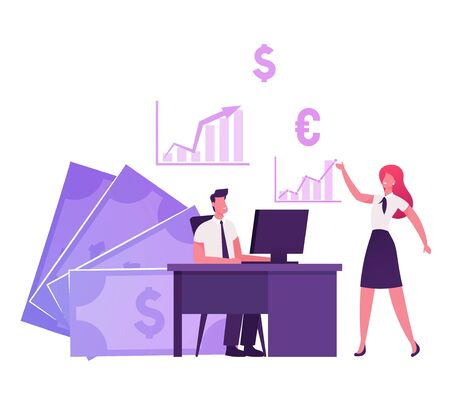 Business People Characters Traders Working on Computer Sell and Buy Currency, Palladium, Company Bonds and Precious Metals on Stock Market. Broker Service Pc Application. Cartoon Vector Illustration