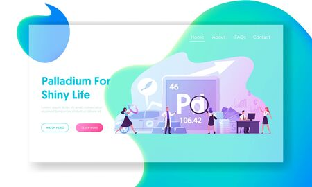 People Use and Study Palladium Landing Page Template. Periodic Table Chemical Element with Symbol Pd and Atomic Number 46. Male Female Characters Use Transition Metal. Cartoon Vector Illustration Ilustración de vector