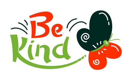 Be Kind Banner with Typography in Red, Black and Green Colors. Graphic Element Isolated on White Background. Motivation Icon, Aspirational Quote Print, Good Vibes Wish, Cartoon Vector Illustration Vektorgrafik