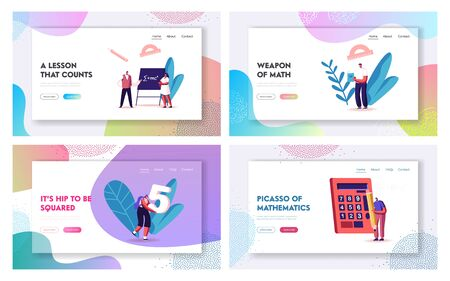 Mathematics, Algebra and Trigonometry Science Landing Page Template Set. Male and Female Student Characters Learning Formulas, Prepare for Exam. People Study in University. Cartoon Vector Illustration Ilustrace