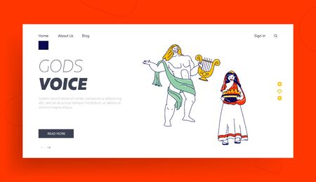 Ancient Greek Gods Characters Landing Page Template. Appolon or Phoebus Patron of Light and Arts and Hesita or Vesta Patroness of Hearth, Olympus Deities Characters. Linear People Vector Illustration
