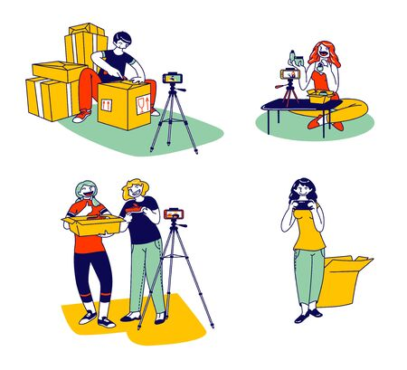 Mail Delivery Shipment Blogging Concept. Men and Women Bloggers Characters Opening Parcel Boxes Recording Unboxing Video for Internet. Live Streaming Social Media. Linear People Vector Illustration Illustration