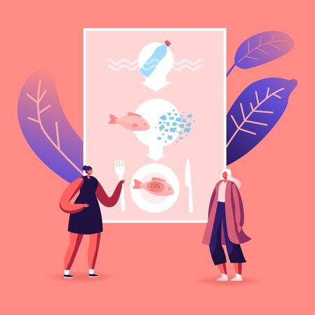 Pollution, Microplastic in Food Ecological Problem Concept. Female Characters Presenting Infographics of Micro Plastic Pieces Got into Fried Fish Dish on Plate. Cartoon People Vector Illustration