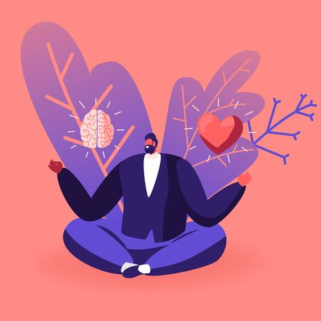 Young Man in Casual Closing Sitting in Meditative Lotus Posture with Brain and Heart in his Hands Choosing between Feelings and Mind. Male Character Making Life Decision. Cartoon Vector Illustration