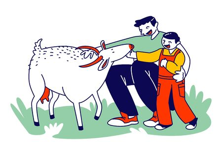Father and Son in Farm Outdoor Zoo. Daddy with Little Boy Caress Goat, Spending Time with Domestic Animals. Happy Family Characters in Park at Countryside or Village. Linear People Vector Illustration