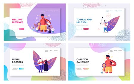 Chicken Pox Varicella Symptoms Landing Page Template Set. People Vaccination, Medical Prevention and Immunization. Tiny Doctors Characters near Huge Boy with Red Pimples. Cartoon Vector Illustration Vektorové ilustrace