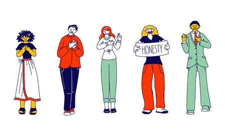 Group of Diverse Multiracial People Stand in Row Show Honesty Banner. Characters Gesturing Put Hand on Heart