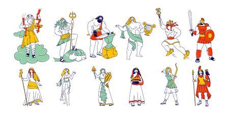 Ensemble de puissants dieux et déesses de la Grèce antique. Zeus Poseidon Hephaestus, Vulcan Apollon Hermes Ares, Hera Athena Minerva Demeter Aphrodite Hestia, Mythologie Dieties. Illustration vectorielle de personnes linéaires