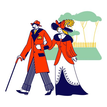 Whiskered Man and Elegant Lady Characters of Nineteenth Century Walking on Nature. English Gentleman Clothing in Old Fashioned Suit, Hat and Cane. Vintage Fashion. Linear People Vector Illustration 向量圖像