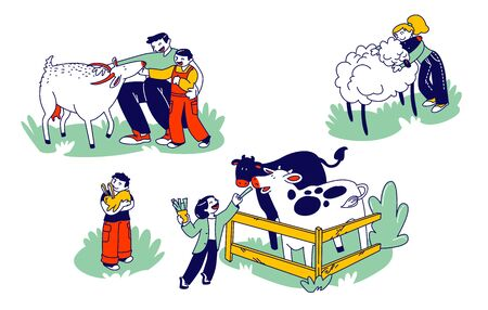 Little Kids Visit Farming Zoo with Parents. Children Characters Petting Domestic Animals Care of Cows, Sheep, Rabbits and Goat. Father and Boy Spend Time on Weekend. Linear People Vector Illustration