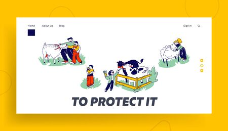 Little Kids Visit Farming Zoo with Parents Landing Page Template. Children Characters Petting Domestic Animals Care of Cows, Sheep, Rabbits and Goat on Weekend. Linear People Vector Illustration 向量圖像