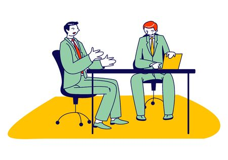 Couple of Male Business Characters Sitting at Table Conducting Negotiations in Meeting Room or Boss Office. Businesspeople Communication. Leader Speaking with Staff. Linear People Vector Illustration