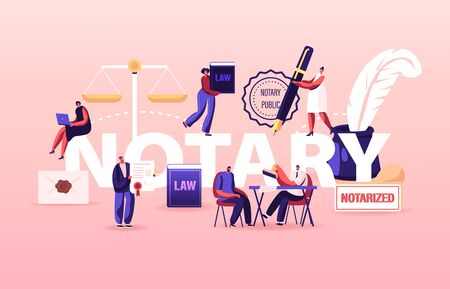 Notary Professional Service Concept. People Visit Lawyer Office for Signing and Legalization Documents. Secretary Character Stamping Documentation Poster Banner Flyer. Cartoon Vector Illustration