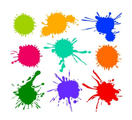 Set of Cartoon Blots and Splatters, Multicolored Blob Icons Isolated on White Background. Bright Paint Brush Yellow Red Blue and Green Colors. Colorful Design Elements, Splashes. Vector Illustration Векторная Иллюстрация